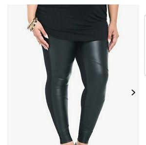 Torrid black leather leggins size 1 new